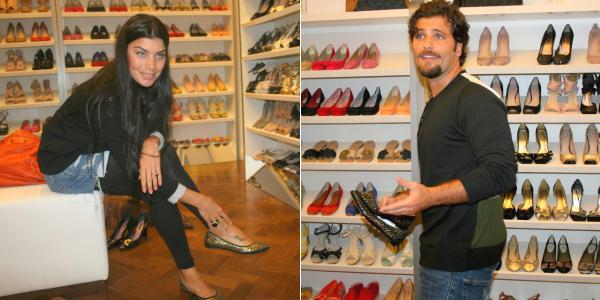 Bruno Gagliasso e Joana Balaguer vão em inauguração de loja de sapatos
