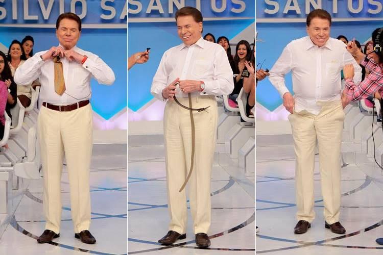 Silvio Santos tira a roupa (Lourival Ribeiro/SBT)