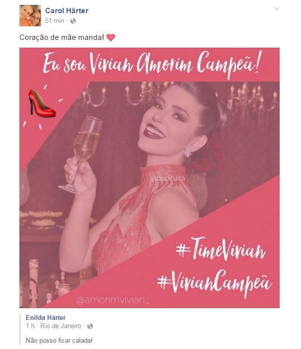 Carol Harter - Irmã de Marco torce por Vivian/Facebook