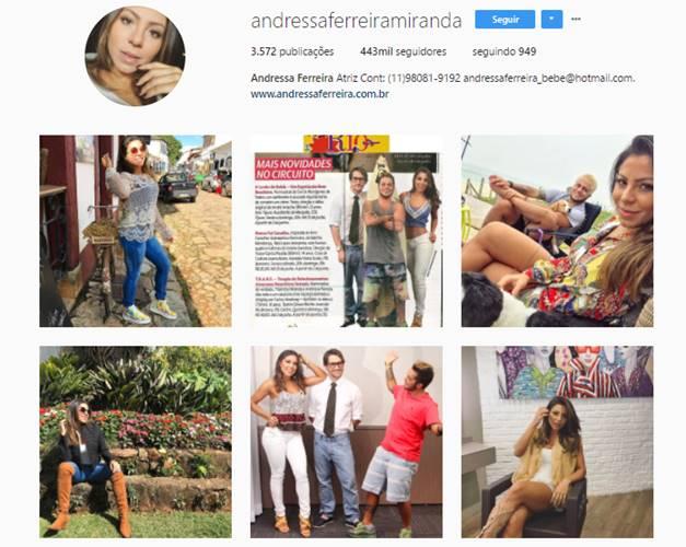 Reprodução do Instagram de Andressa Ferreira Miranda