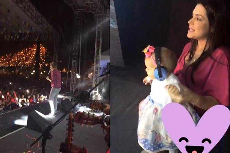 Thais Fersoza leva Melinda para curtir show de Michel Teló
