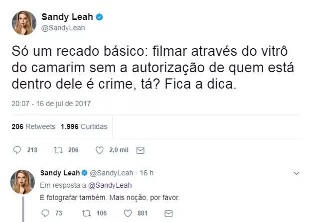 Comentário de Sandy no Twitter (Reprodução/Twitter)