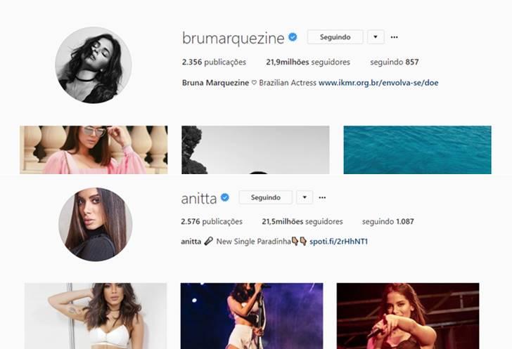 Comparação Bruna Marquezine e Anitta (Reprodução/Instagram)