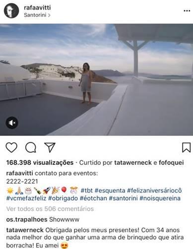 Comentário Tatá Werneck (Reprodução/Instagram)