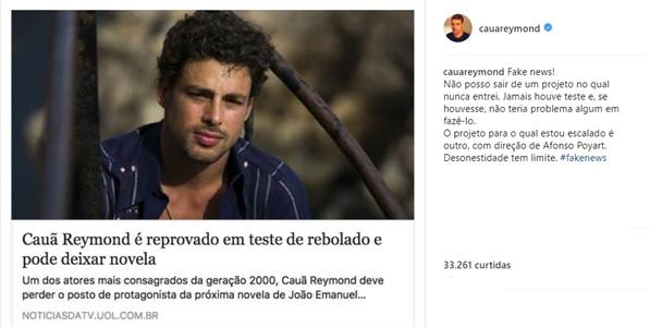 Publicação de Cauã Reymond (Reprodução/Instagram)