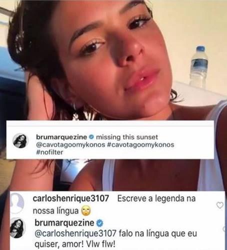 Comentário de Bruna Marquezine (Reprodução/Instagram)