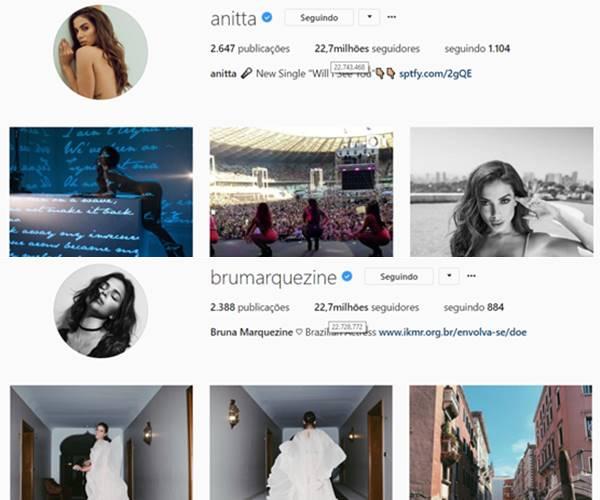 Neymar é o próximo? Anitta supera seguidores de Bruna Marquezine no Instagram