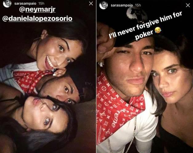 Neymar curte festa com Sara Sampaio e Lewis Hamilton