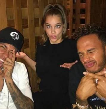 Neymar, Barbara Palvin e Lewis Hamilton (Reprodução/Instagram)