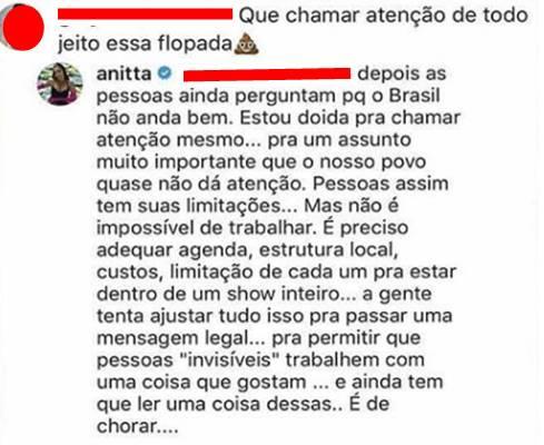 Comentário de Anitta (Reprodução/Instagram)