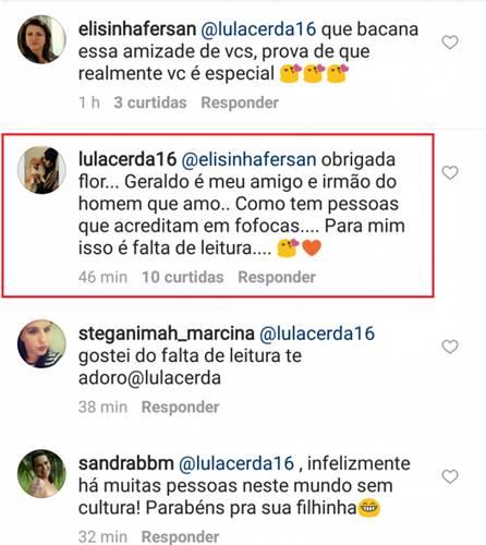 Comentário de Luciana Lacerda (Reprodução/Instagram)