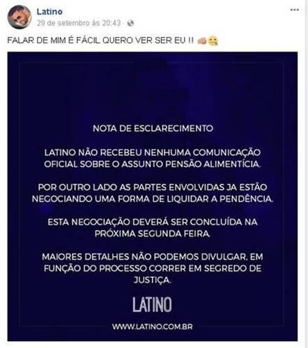 Publicação de Latino (Reprodução/Instagram)