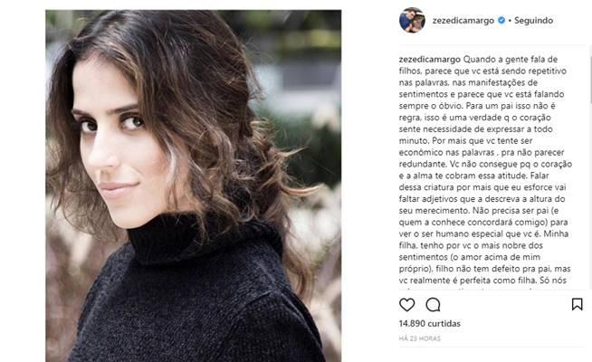 Publicação de Zezé Di Camargo (Reprodução/Instagram)