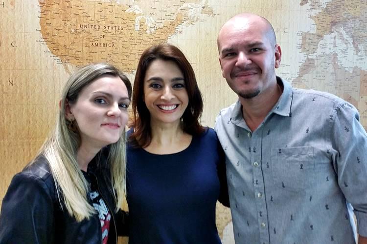 Wandreza Fernandes (editora de conteúdo/Área VIP), Catia Fonseca e Fabio Almeida (administrador/Área VIP)