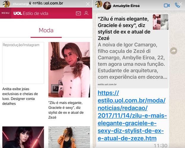 Instagram Stories/Zilu Godoi