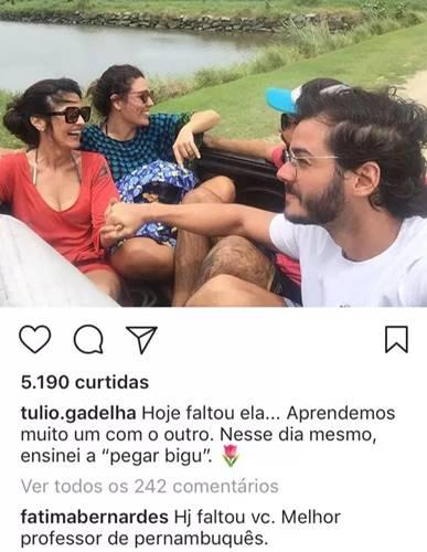 Publicação de Túlio Gadêlha (Reprodução/Instagram)