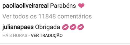 Comentário - Juliana Paes/Instagram