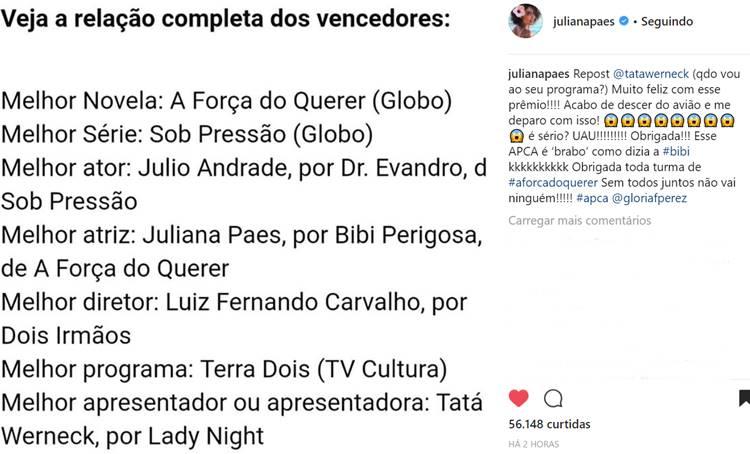 Post - Juliana Paes/Instagram