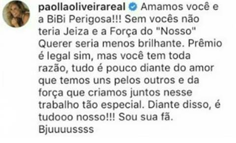 Post - Paolla Oliveira/Instagram