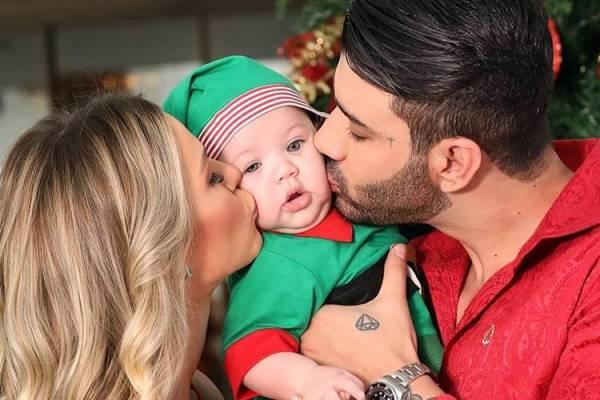 Andressa Suita e Gusttavo Lima com o filho/Instagram
