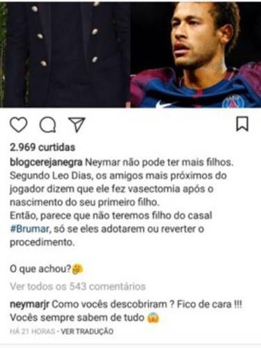Post sobre o Neymar/Instagram