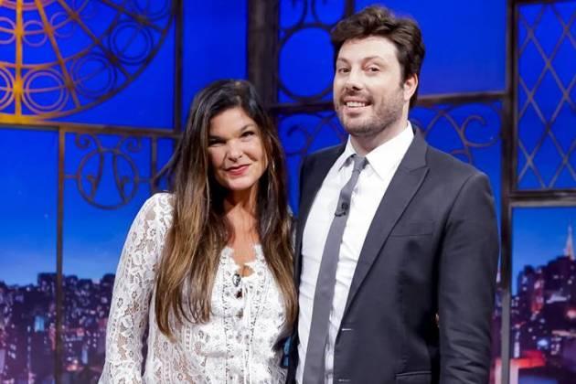 Cristiana Oliveira e Danilo Gentili (Gabriel Cardoso/SBT)