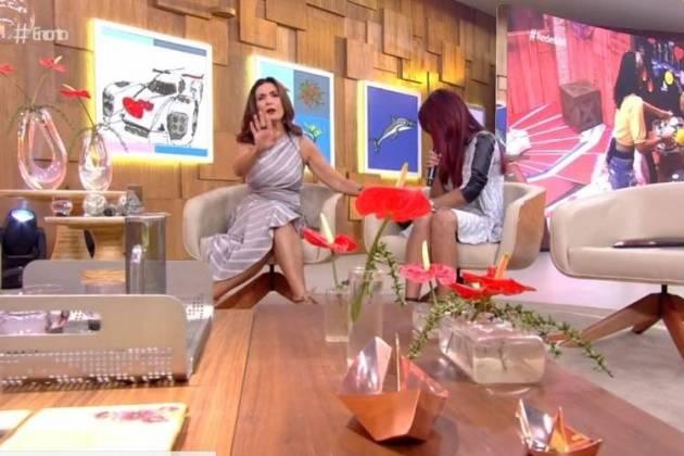 Fátima Bernardes e mãe de Gleici - Reprodução/TV Globo