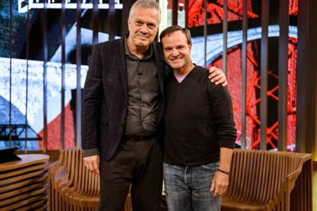 Pedro Bial e Rubinho Barrichello (Globo/Ramón Vasconcelos)