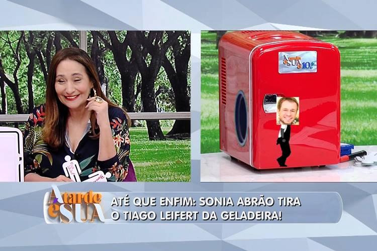 Sônia Abrão tira Tiago Leifert da geladeira