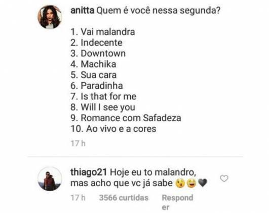 Mensagem picante do marido de Anitta - Reprodução/Instagram