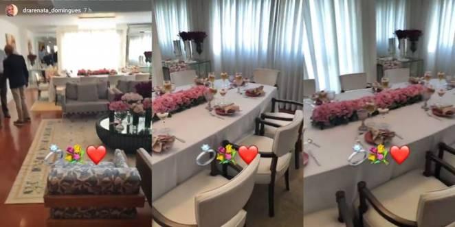 Renata mostra detalhes da mesa da festa de casamento/Instagram