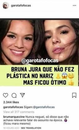 Bruna Marquezine fala sobre cirurgia no nariz - Reproduçao/Instagram