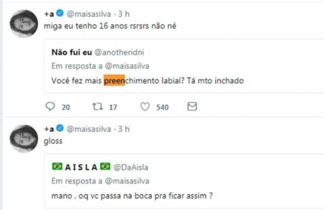 Respostas Maisa/Twitter