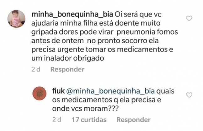 Comentário Fiuk - Reprodução/Instagram