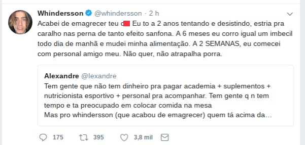 Comentário feito por Whindersson Nunes/Twitter