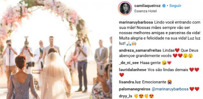 Comentário de Marina Ruy Barbosa em post de Camila Queiroz/Instagram