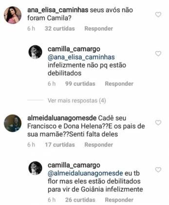 Comentário Camilla Camargo/Instagram