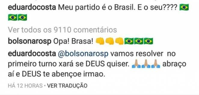 Comentário Eduardo Costa - Reprodução/Instagram