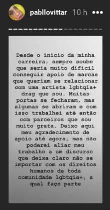 Declaração de Pabllo Vittar/Instagram