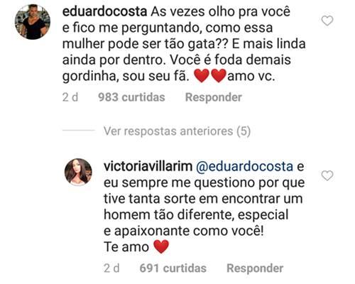 Post - Eduardo Costa e Victória Villarim/Instagram