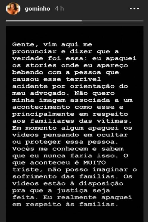 Nota de esclarecimento divulgada por Gominho/Instagram