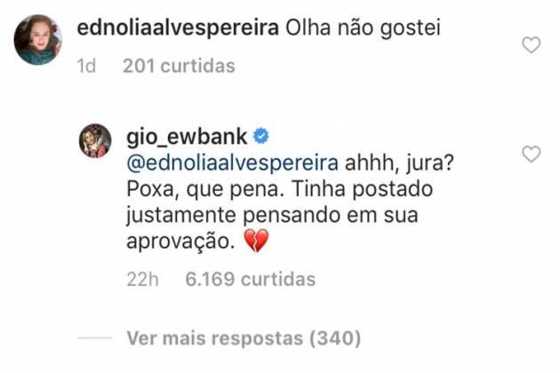Comentário de Giovanna Ewbank/Instagram