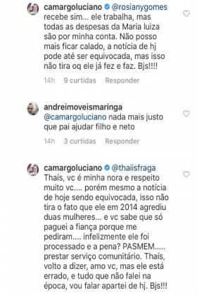 Comentário de Luciano Camargo/Instagram