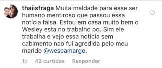 Comentário de Thaís Fraga/Instagram