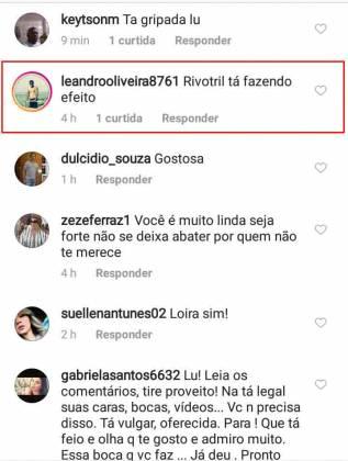 Internauta comenta post de Gimenez - Reprodução/Instagram