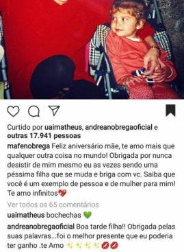Resposta Andrea no post da filha/Instagram