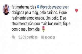 Recado de Fátima Bernardes/Instagram