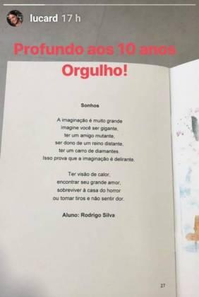 Stories Luciana Cardoso/Instagram