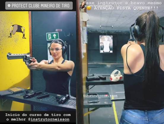Victória Villarim no Curso de Tiro/Instagram