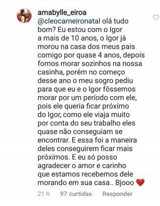 Reprodução: Instagram Amabylle Eiroa